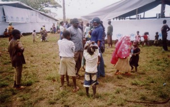 Fr. Jo goes around to welcome the new refugee arrivals from DRCongo to the reception centre