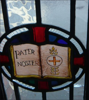 Detail - Pater Noster stained glass window from narthex of St. Edward's Church, Kettering