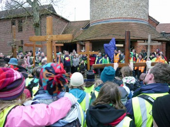 All the Legs of Student Cross gathered outside the Catholic Church, Walsingham on Good Friday, 2010