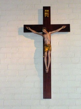 Crucifix on the wall in St. Bernadette's Church, Rothwell, 2009