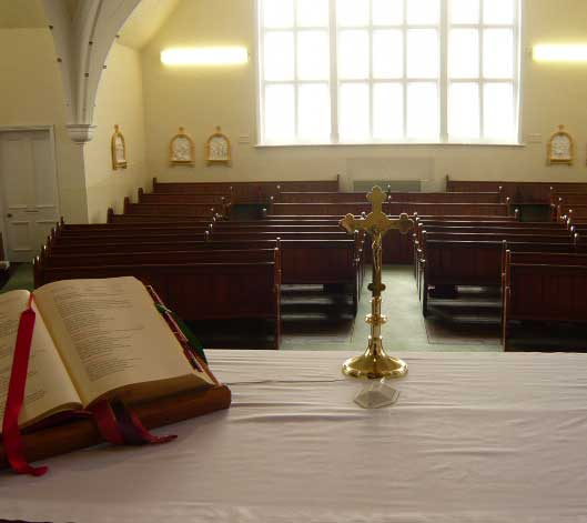 View of Holy Trinity church, Desborough looking from the altar to the congregation