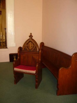 Priest's chair on the sanctuary of Holy Trinity Church
