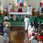 Canon John saying Mass at St. Edward's church, Kettering