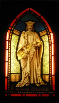 Stained glass image of St. Edward