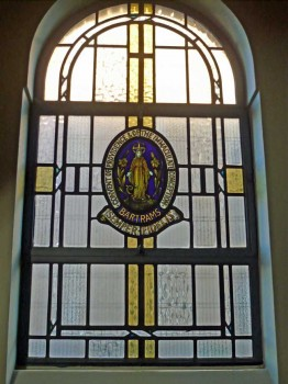 Stained glass window in St. Edward's church, Kettering, donated by Bartrams Convent School, Hampstead