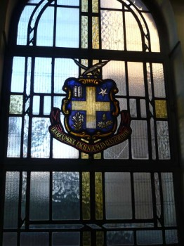 Stained glass window in St. Edward's church, Kettering, donated by St. Aloysius Convent Grammar School, Euston