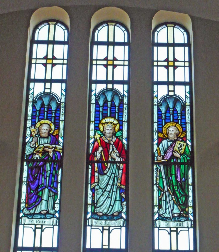 A triple window depicting Saints Peter, Edward the Confessor and Paul in St. Edward's Church, Kettering