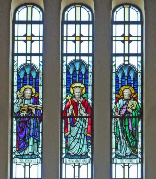 Triple stained glass window depicting Saints Peter, Edward the Confessor and Paul, at St. Edward's Church, Kettering