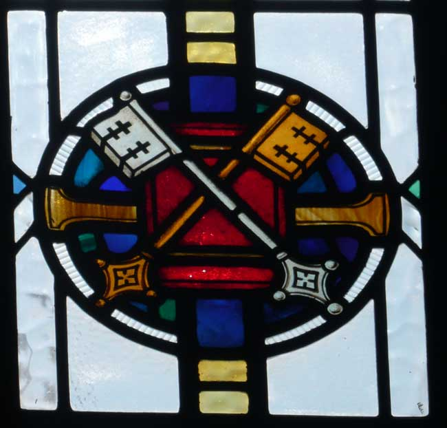 Crossed Keys - a detail from a stained glass window in St. Edward's church, Kettering