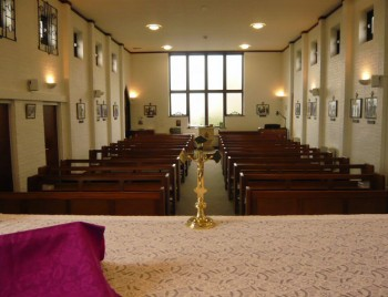 A view across the altar down the nave, St. Bernadette's church, 2013