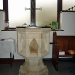 The font at St. Bernadette's Church, 2013