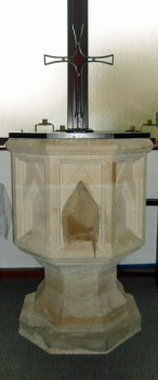 The font at St. Bernadette's Church, Rothwell