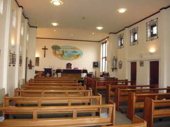A view down the nave of St. Bernadette's Church, Rothwell, Advent 2013