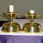 Candlesticks on the altar at St. Bernadette's church, Advent, 2013