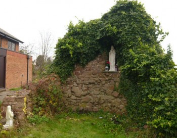 The outside grotto at St. Bernadette's church, Rothwell