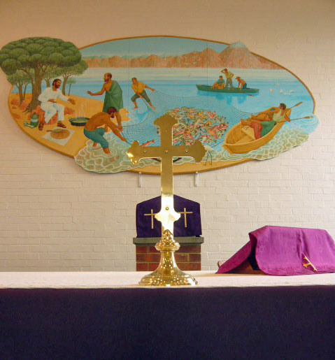 altar at St. Bernadette's Church, Rothwell, looking towards the painting on the back wall