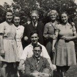 The Langley Family at 91 London Road, 1940/1941. L-R. Margaret, Mary, Mr. Frederick Langley, Mrs Gertrude Langley, Agnes, Fr. Gerard Langley, Basil.