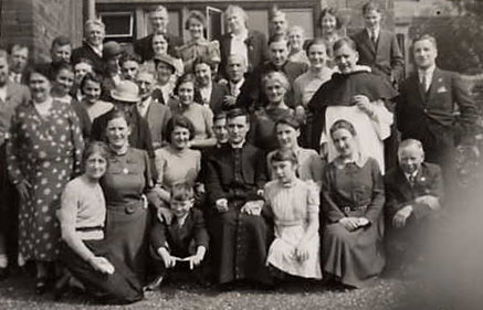 Group photo of the reception at the Ursuline Convent, Headlands for the ordination, April 28th, 1940 for Fr. Gerald Langley