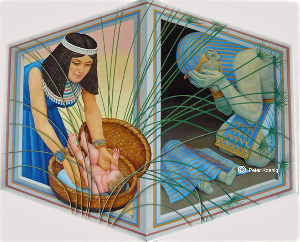 pharoah daughter finds the baby Moses in a basket. An Egyptian weeps over the death of his first born