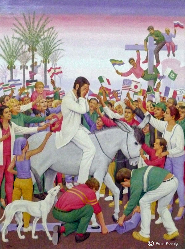Jesus riding into Jerusalem on Palm Sunday