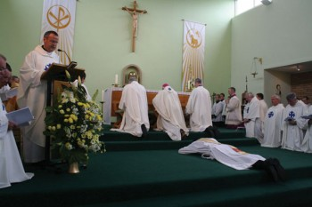 The Ordination of Fr. Andy Richardson, 2008. Lying prostrate in front of the altar