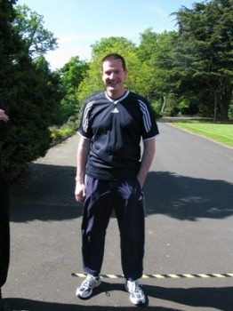 Fr. Andy Richardson before a sponsored run, May 2009