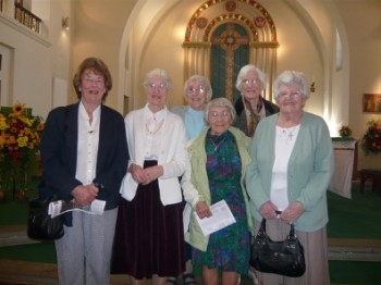 L-R: Anne Parsons, Roisin Toole, Sr Margaret Langley, Mary Lehman, Sr. Josephine Langley, Eva Langley September 2009 in St. Edward's church
