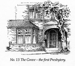 The chapel in the Presbytery, 1892. Pencil sketch by C. Dudley Brown