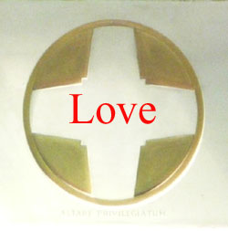St. Edward's Altar Cross with the word Love