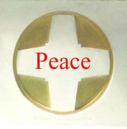 St. Edward's Altar cross with the word Peace