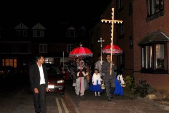 Processing to St. Edward's Church, Kettering, by the Malayalam Community on the Feast of Our Lady of the Rosary