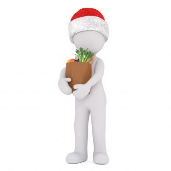 Christmas white figure holding grocery bag