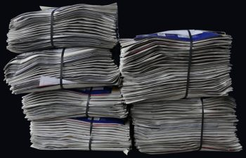 bundles of newspapers