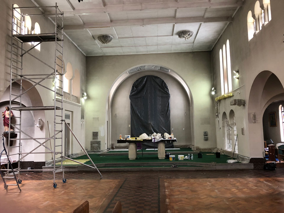 Looking down the centre of St. Edward's Church towards the altar while it is being redecorated June 2020