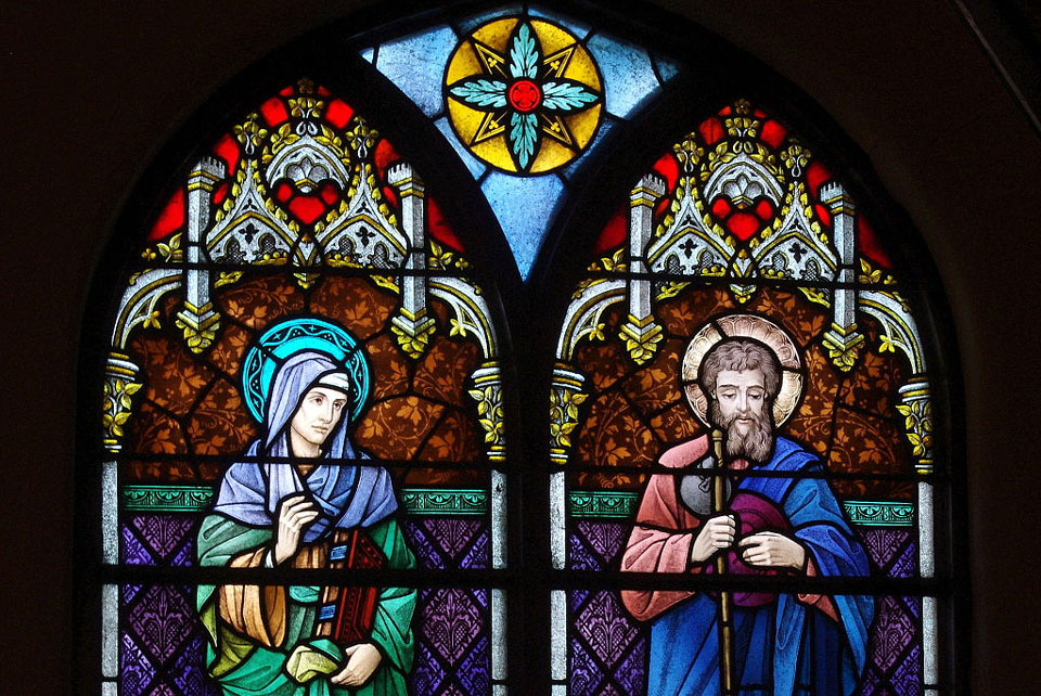 St. Anne and St. Joachim, Detail of Stained Glass window in St. Joseph's Church, Central City, Kentucky. Photograph Nheyob CC by 4.0