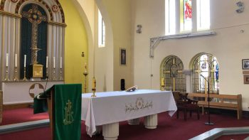 St. Edward's church, newly decorated, facing across altar to lady chapel