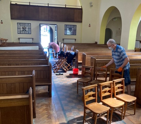 Cleaning the church following decoration