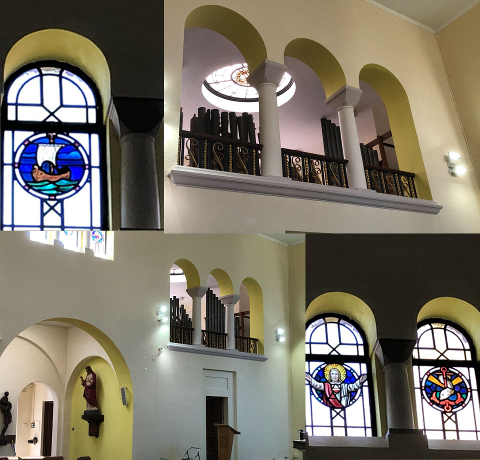 Interior of St. Edward's Church during redecoration