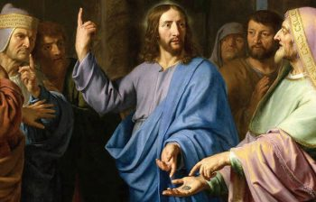 Painting of Jesus talking to the Pharisees