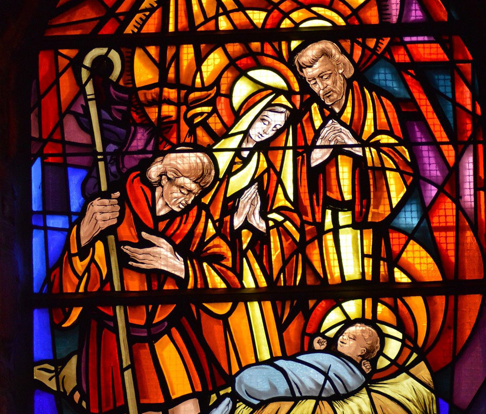 Stained Glass nativity scene