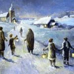 People holding lamps walking in the snow towards church