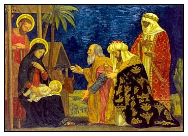 Wise Men offering gifts at the nativity