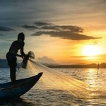 Man casting a fishing net on the water in the sunset