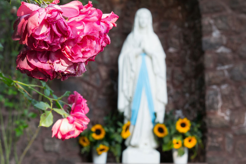 Outside Grotto Shrine to Our Lady of Lourdes