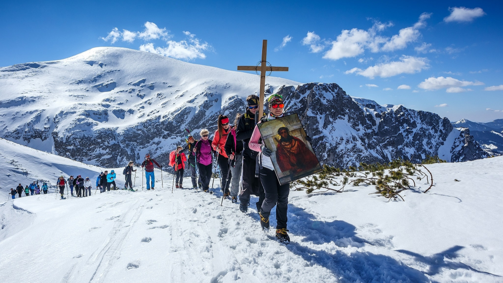 pilgrimage up a snowy mountain