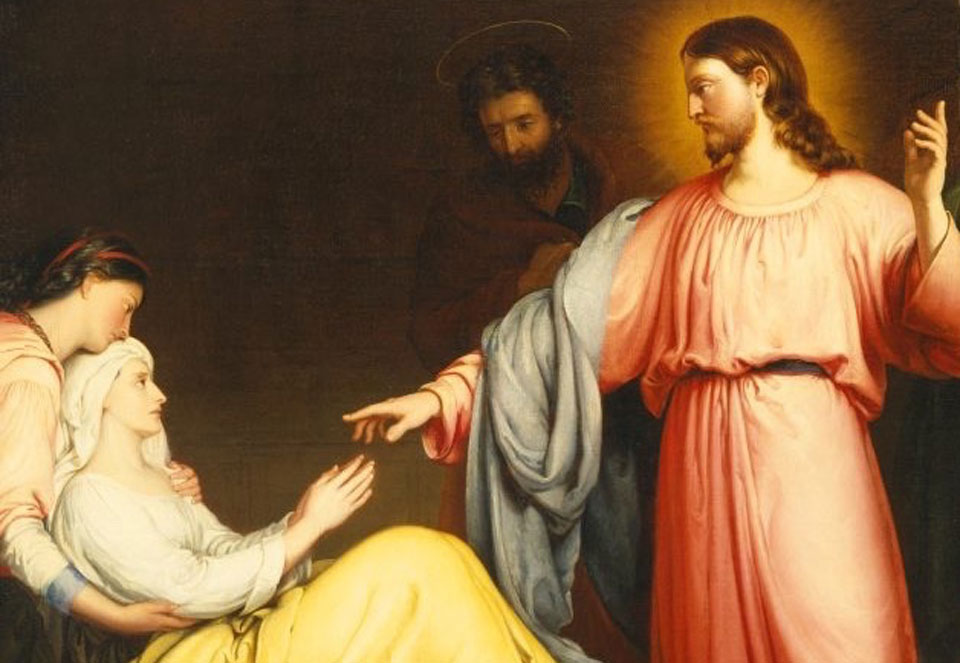 Jesus bidding Simon Peter's mother-in-law to rise and be well