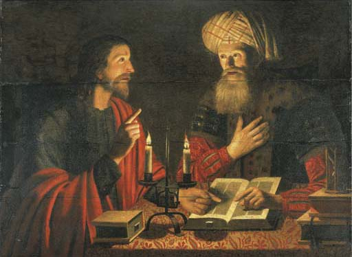Painting of Jesus meeting Nicodemus