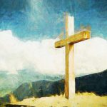 Painting of a cross on a hill
