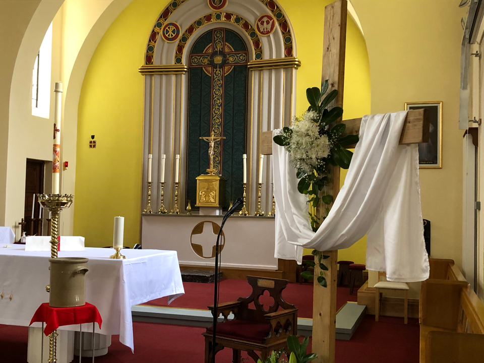 The Altar at St. Edward's Church set for Easter