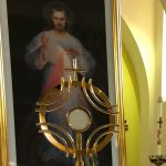 Divine Mercy image on the altar behind the blessed sacrament